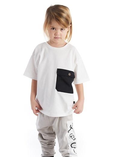 Colorinas Big Pocket Oversize T-Shirt Beyaz